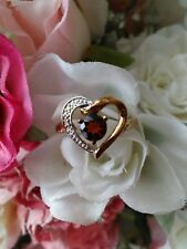 9ct gold garnet/Diamond Heart ring Size L