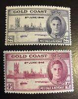 1946 Gold Coast 128 - 129 MNH Perf 13 1/2 x 14