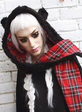 RED TARTAN HOOD PANDA BEAR EAR SNOOD SCARF HAT GRUNGE INDIE KAWAII LOLITA GOTHIC