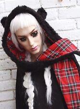 Cappuccio Tartan Rosso Panda Cappello Sciarpa Orecchio Basso di lenza grunge indie KAWAII Lolita Gothic