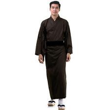 Japan Herren Yukata Kimono Obi Samurai Morgenmantel Haori Baumwolle Braun