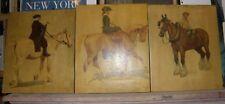Triptyque Lithographies Cecil Aldin signées et datées 1901 - Cavaliers Cheval
