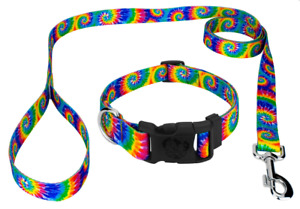 Personalized Collar and Dog Leash Set, Variety of Prints, Embroidered Pet ID