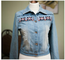 Womens festival cropped denim embroidered pocket button boho blue jacket 8 10 12