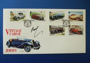 1992 JERSEY VINTAGE CARS II FIRST DAY COVER SIGNED BY BERNIE ECCLESTONE - RARE!!