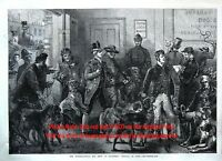 Dog Show Arrivals, Unique Behind the Scenes View, 1860s Antique Engraving Print