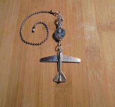 Airplane Crystal~Ceiling Fan Pull~Hook on Chain/Lamps/Auto Mirror~Silver