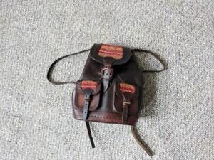 vintage HAND TOOLED leather backpack INDIAN PRINT tribal navajo HANDMADE