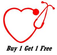 ~*~ 2 HEART shaped STETHOSCOPE doctor med Vinyl Decal Wall glass nurse dr CUSTOM
