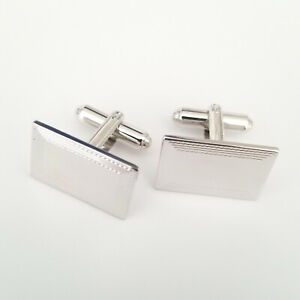 Sterling Cufflinks Cuff Links Rectangle Simple Father's Day 925 marked
