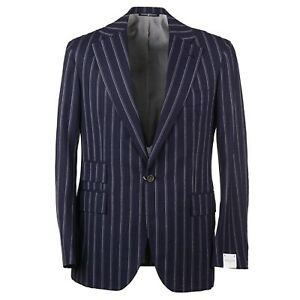 Orazio Luciano Navy Blue and White Stripe Crisp Wool Suit 40R (Eu 50)