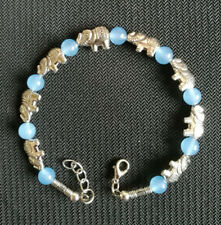 Jewellery Tibet Silver Elephant Light Blue Jade Bead Bangle Jewelry Bracelet