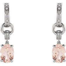 Genuine 8 x 6 mm Morganites Oval Gems & Diamonds Dangle Earrings 14K. White Gold