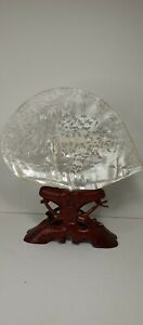 Fine Vintage Chinese Open Work Carved Mother Of Pearl Shell Wood Stand