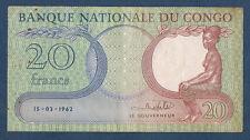 BILLET de BANQUE du CONGO - 20 FRANCS Pick n° 4.a du 15-03-1962 en TTB P465124