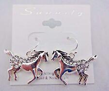 Horse earrings silver metal rhinestones dangle