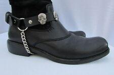 New Biker Men Western Women Boots Silver Chains Pair Leather Straps Metal Skulls