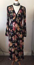 Zara Black Floral Velvet Trim Midi Dress Size M UK10