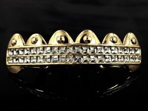 14k Gold GP Grillz iced 6 Tooth HipHop Square Simulated Diamond Grills Bling out