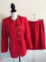 Kasper ASL Womens Coral Suit Blazer Jacket & Skirt Pockets Lined Sz 8 P