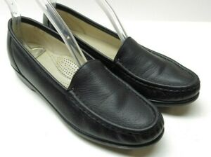 SAS Black Leather Slip On Wedge Loafers Heels Walking Shoes 8S 8 Slim