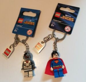 LEGO SUPERMAN AND CYBORG KEYCHAINS NEW WITH TAGS HTF