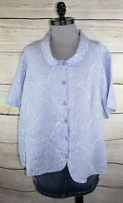 Flax Engelhart womens Top 2G (1X 2X) Gingham Linen Periwinkle Purple Blue Shirt
