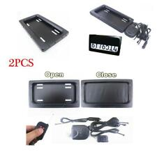 2X Hide-Away Shutter Cover Up Electric Stealth USA License Plate Frame w/ Remote