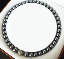 """10mm Natural Black South Sea Shell Pearl Round Gems Beads Necklace 18""""AAA+"""