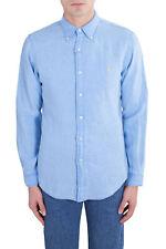 POLO RALPH LAUREN Men - Baby blue signature linen slim-fit shirt