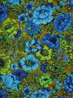 """Vtg 60s Chatham Upholstery Fabric Green Blue Cabbage Roses Floral 55"""" x 3.7 Yds"""