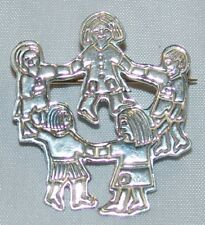 Sterling Silver Pin Brooch Mexico Jewelry Children Dancing Ring Around Rosie