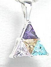 Radiant Amethyst, Aquamarine, Citrine Pendant Necklace set in Sterling Silver