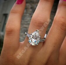14k white gold over wedding ring 4.50ct d vvv1 pear diamond baguette engagement