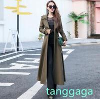 Womens Trench Dress Outwear Lapel Collar Slim Fit Jacket Long Elegant Overcoat