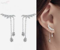 925 Sterling Silver CZ Leaf Branch Angel Wing Climber Crawler Drop Earrings