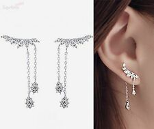 925 Sterling Silver Pin CZ Leaf Branch Angel Wing Climber Crawler Drop Earrings