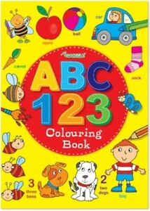 Fun Learning Learn Practice Alphabet & Numbes Colouring  Book A4 Children Kids