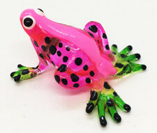 Miniature Blown Glass Blowing Art Frog Pink Animal Decor Collectible Souvenir