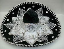 """Authentic Mexican Mariachi-Sombrero Charro Adult 23"""" Black/Silver"""