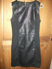 New Look Black Leather Look Sleeveless Dress with Side Panels Size 8