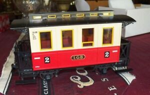 LGB 3011 RED AND WHITE 2 AXLE COACH, PRISTINE CONDITION, VERY OLD STOCK
