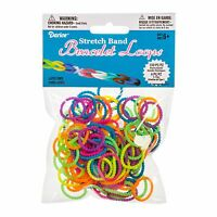 Darice Stretch Band Bracelet Loops (150) & Clips (6),Multicolor Bead Style Bands