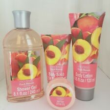 5 pc Set New MODESA Peach Blossom Shower Gel Body Lotion Scrub Bath Fizzer