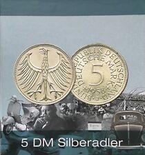 """72 x 5 DM Silberadler 1951 bis 1974 Komplettsatz ohne 1958 """"J"""" Erhaltung Vz-Stg"""