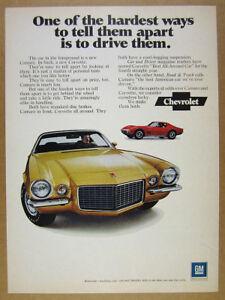 1971 Chevrolet Chevy yellow Camaro & red Corvette photo vintage print Ad