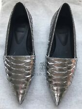 New Auth Brunello Cucinelli Silver Python Loafers Monili Sequence Shoes Sz 7 37