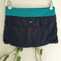 Lululemon Navy & Teal Blue Activewear Skort/Skirt 6 (AU10 S) Recycled Polyester