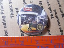 station repair shop GAS & OIL PINBACK BUTTON Coca Cola car Tractor fuel tires