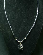 Vintage Hematite Carved Elephant Beaded Necklace